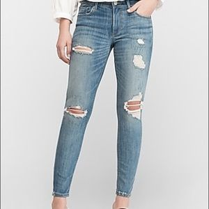 Mid Rise Medium Wash Ripped Ankle Skinny Jeans